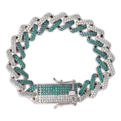 The 14MM Iced Out Curb Chain Bracelet - Mint Blue - Mancessorize