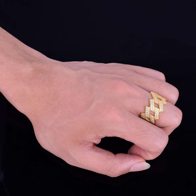 The Iced Out Curb Ring - Gold - Mancessorize
