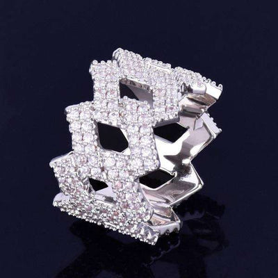 The Iced Out Curb Ring - Silver - Mancessorize