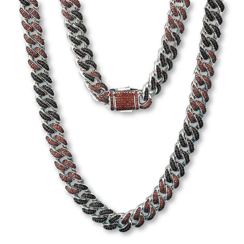 The Limited Edition 12mm Black/Red Iced Out Cuban Cuban Link Chain - Mancessorize