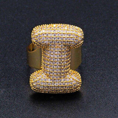 Custom 24K Gold Plated Bubble Letter Rings - Mancessorize