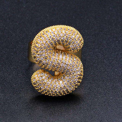 24K Gold Plated Bubble Letter Rings - Mancessorize