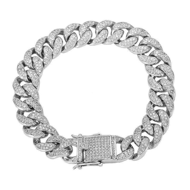 The 12mm White Gold Iced Out Cuban Link Bracelet - Mancessorize