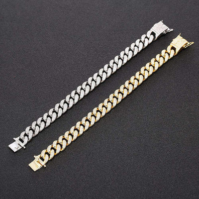 The 12mm 18K Iced Out Cuban Link Bracelet - Mancessorize