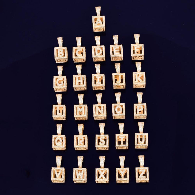 The Custom Alphabet Box Pendant - Gold - Mancessorize
