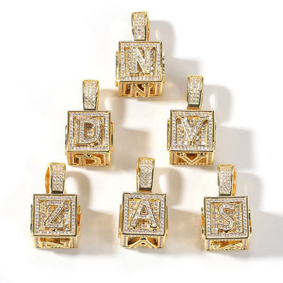 Single Letter Alphabet Box Pendant - Gold - Mancessorize