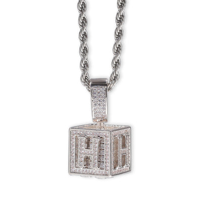 Single Letter Alphabet Box Pendant - Silver - Mancessorize