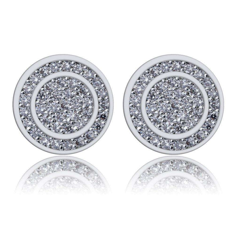 Round Iced Out Button Earrings