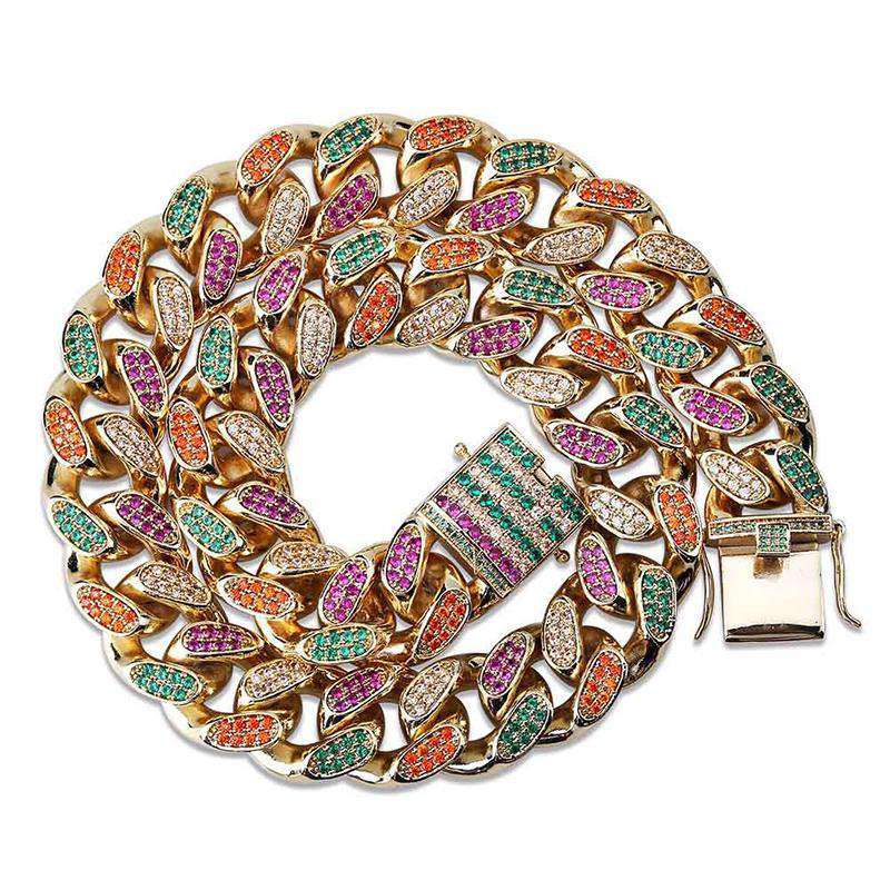 The 18mm Gold Iced Out Rainbow Chain - Mancessorize