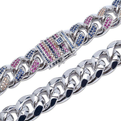 The 18mm Silver Iced Out Rainbow Chain - Mancessorize