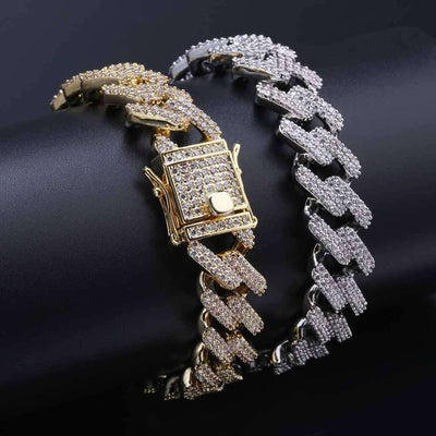 The 14mm Iced Out Curb Bracelet - Gold - Mancessorize
