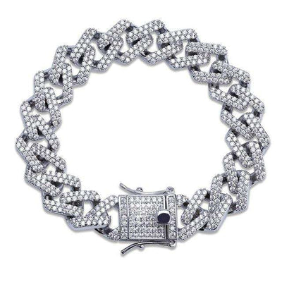 The 14mm Iced Out Cuban Link Curb Chain Bracelet - Silver - Mancessorize