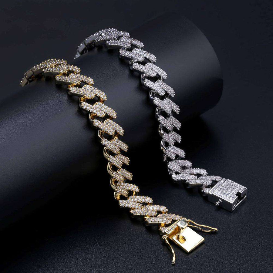 The 14mm Iced Out Curb Bracelet - Gold