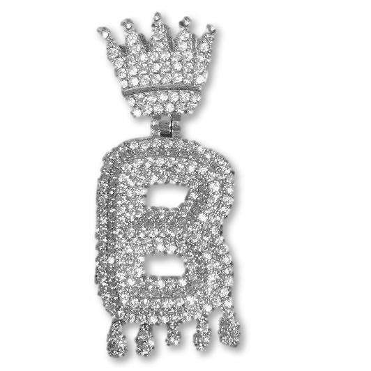 Single Letter Silver Crown Bail Bubble Chain - Mancessorize