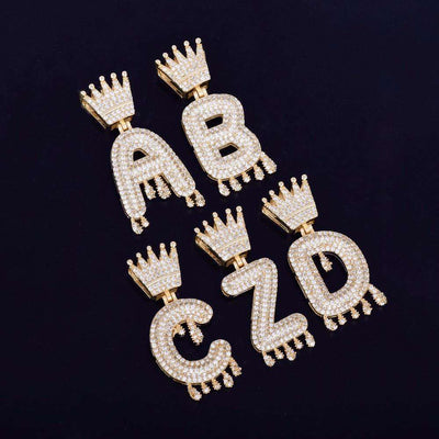 Single Letter 24K Gold Crown Bail Bubble Chain - Mancessorize