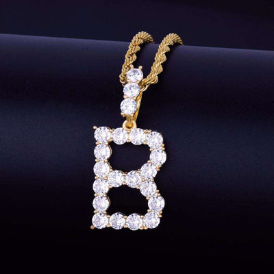 Single Letter 24K Gold Plated Tennis Bubble Chain - Mancessorize