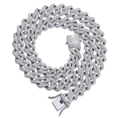 The 14mm Iced Out Curb Chain - Silver - Mancessorize