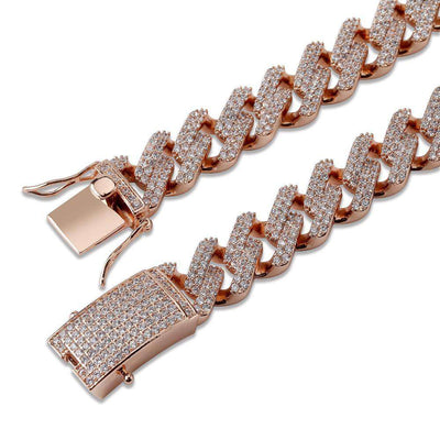 The 14mm Iced Out Curb Chain - Rose Gold - Mancessorize