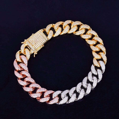 The 12mm Tri Color Cuban Link Bracelet - Mancessorize