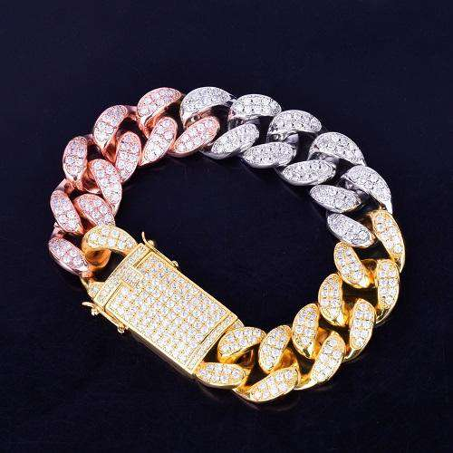 The 20mm Tri Color Iced Out Cuban link Bracelet - Mancessorize