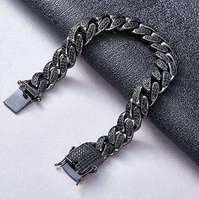 The Black 13MM Iced Out Cuban Link Bracelet - Mancessorize