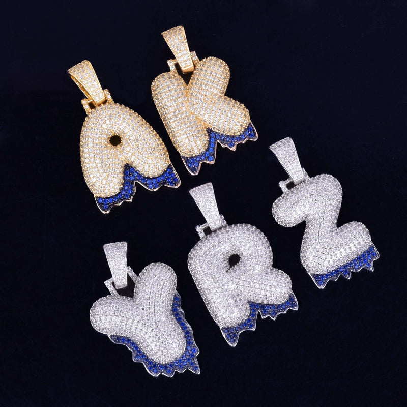 Single Letter 24K Gold Plated Blue Drip Bubble Chain - Mancessorize
