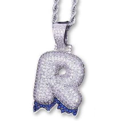 Single Letter Silver Plated Blue Drip Bubble Chain - Mancessorize