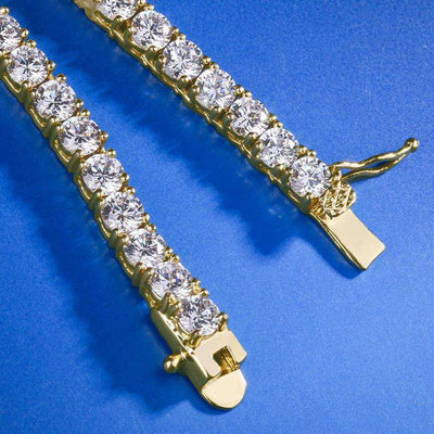 The 4mm 18K Gold Plated Tennis Chain - Mancessorize