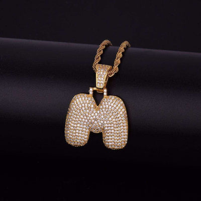Single Letter 24K Gold Plated Bubble Chain - Mancessorize