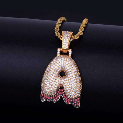 Single Letter 24K Gold Plated Red Drip Pendant Chain - Mancessorize