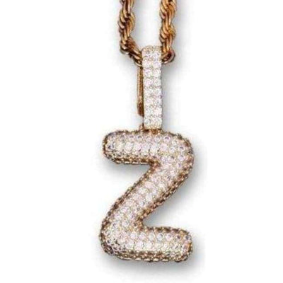 Single Letter 24K Gold Plated Slim Bubble Chain - Mancessorize