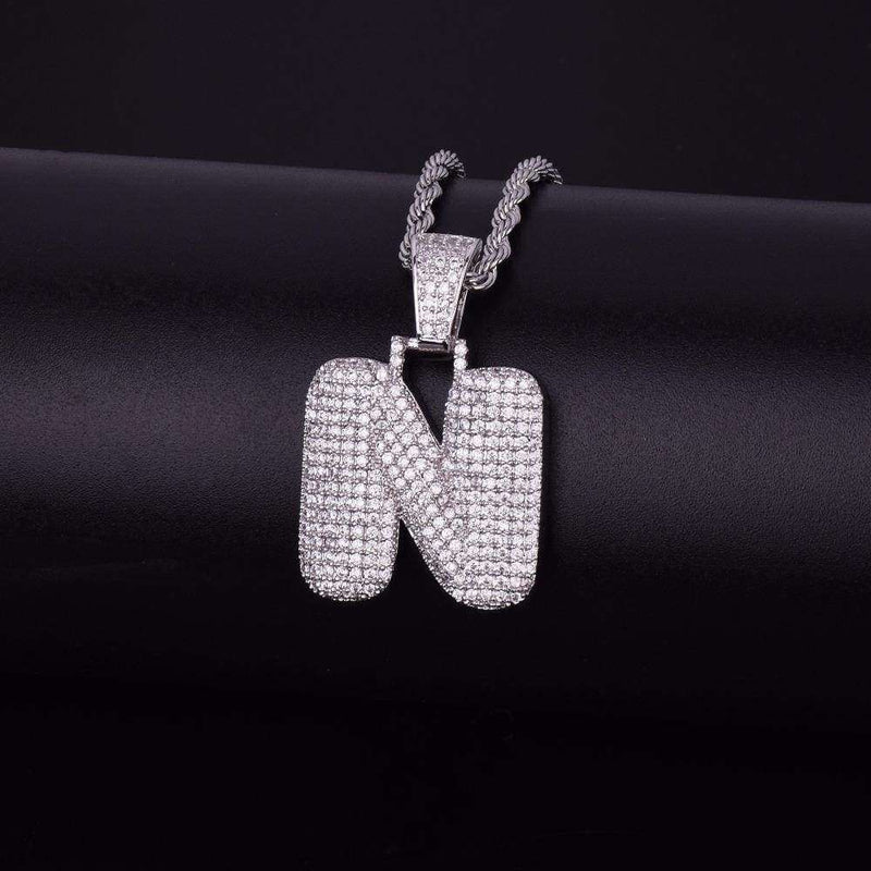 Single Letter Silver Plated Bubble Chain - Mancessorize