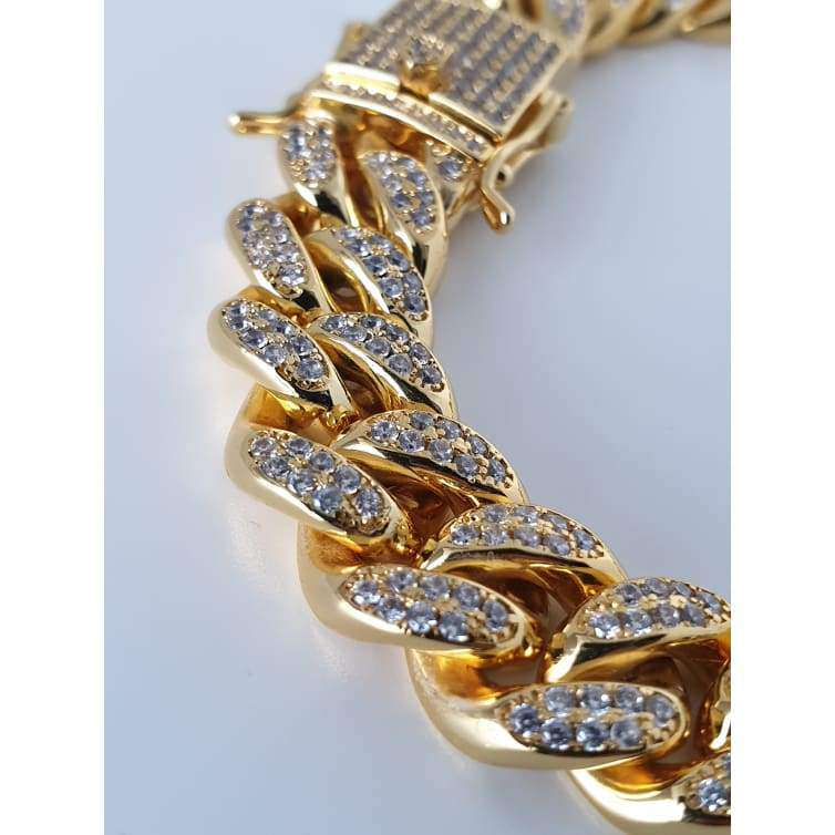 The 12mm 18K Iced Out Cuban Link Bracelet