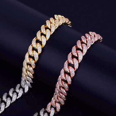 The 12mm Tri Color Iced Out Cuban Chain - Mancessorize