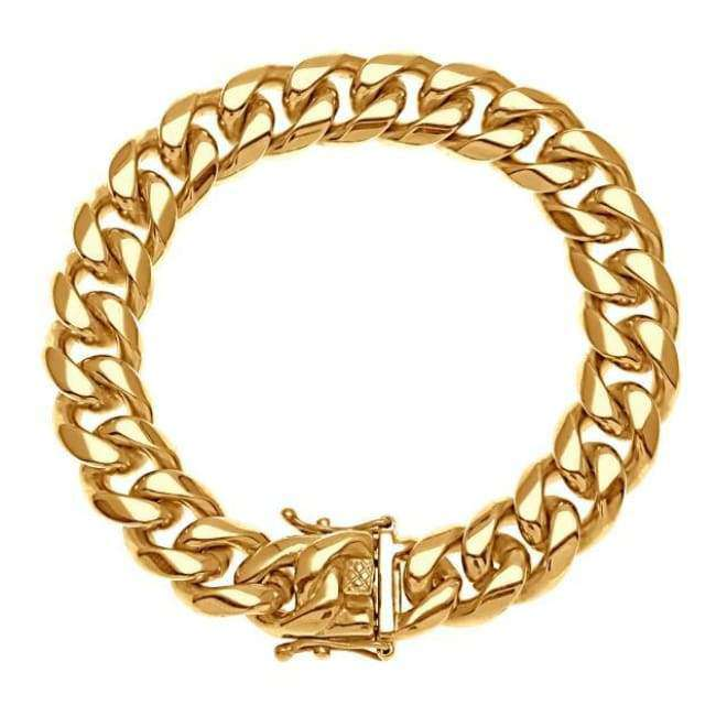 The 18K Gold Plated Stainless Steel Miami Cuban Bracelet 8mm - 14mm