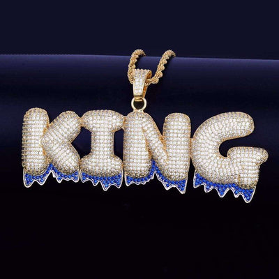 The 24K Gold Plated Blue Drip Custom Bubble Chain - Mancessorize