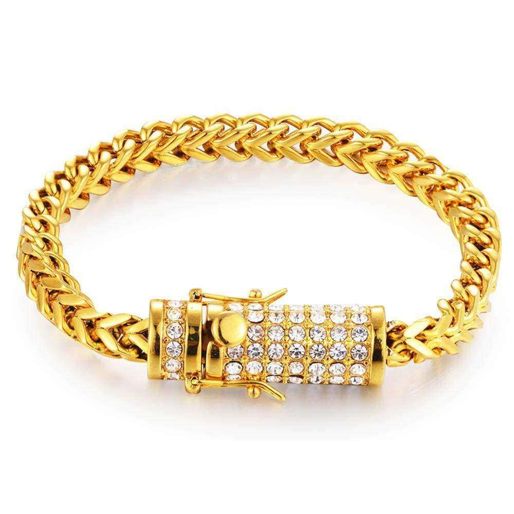 The Gold Franco Bracelet With The Iced Out Dragon Clasp - Mancessorize