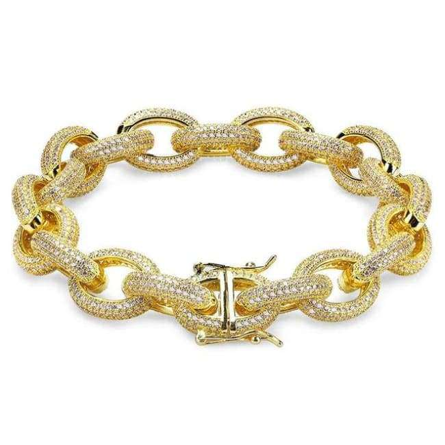 The Iced Out Hoop Bracelet - 24K Gold Plated - Mancessorize