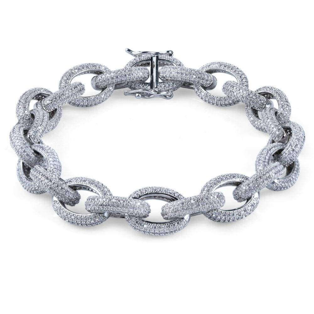The Iced Out Hoop Bracelet - White Gold Plated - Mancessorize