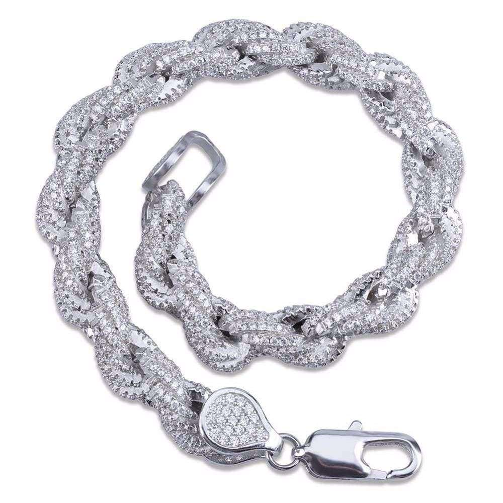 The Silver Iced Out Rope Bracelet - Mancessorize