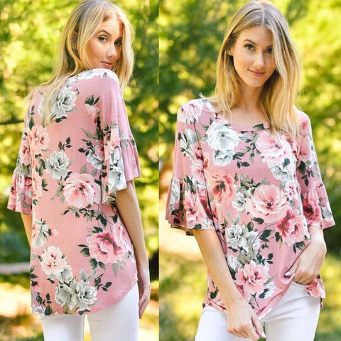 Ruffled Sleeve Floral Maternity Top