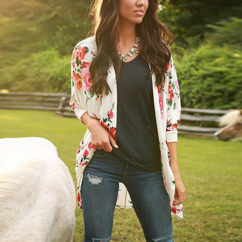 Floral Kimono Cardigan Cover up Tops Maternity & Plus Size