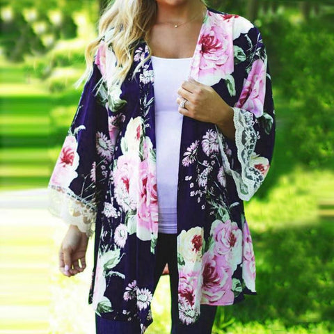 Floral Kimono Open Cape Lace Flare Long Sleeve Cardigan