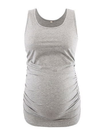 Grey Maternity Tank Tops Tees with Ruched Sides