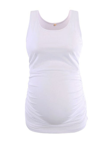 White Maternity Tank Tops Tees with Ruched Sides