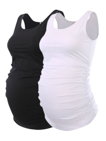2 Pc. Maternity Tank Tops Tees with Ruched Sides