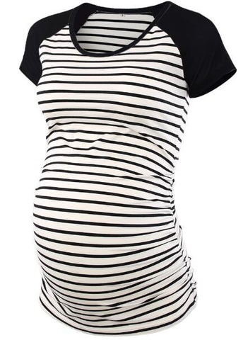 Stripped Raglan Short Sleeve Side Ruched Maternity T-Shirts