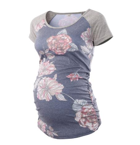 Crew Neck Raglan Short Sleeve Side Ruched Floral Printed Maternity T-Shirts