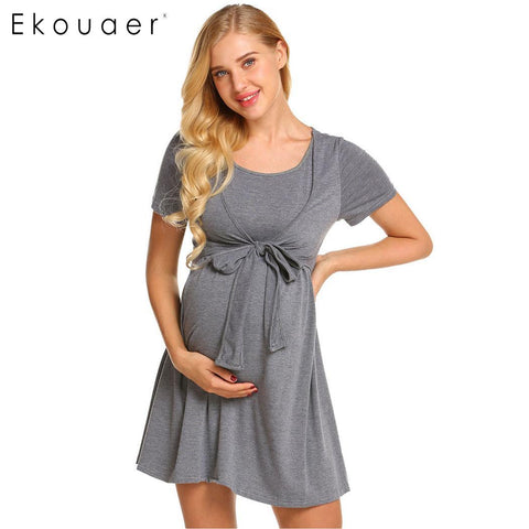Sash Front Maternity Dress Nightgown