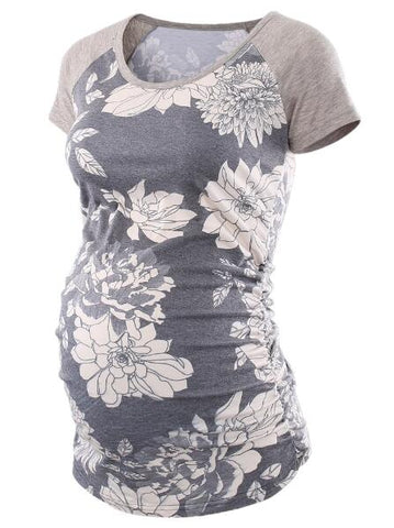 Raglan Short Sleeve Side Ruched Floral Printed Maternity T-Shirts
